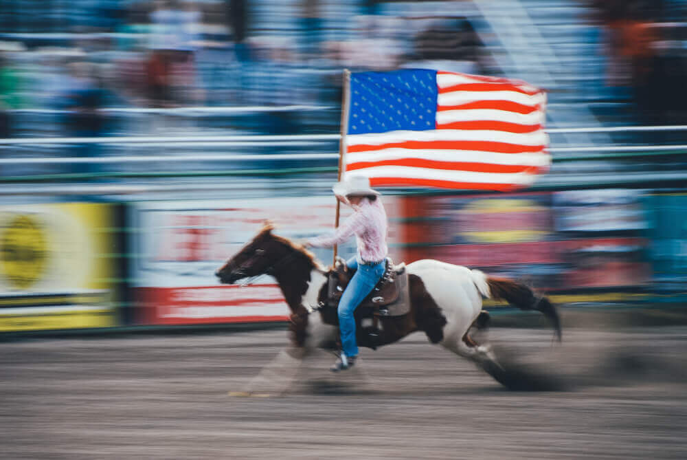 ковбой, флаг, лошадь, американский
