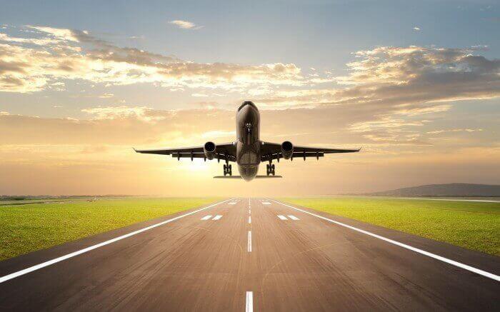 самолет, взлетная полоса, поле